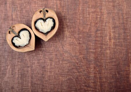 walnut halves in the form of hearts photo
