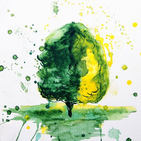 Abstract watercolor painting Tree  photo