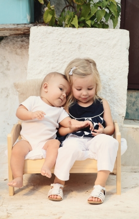 children, brother and sister photo