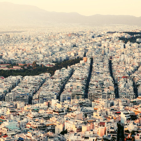Sunset in Athens. Vintage toned photo. View of the city. photo