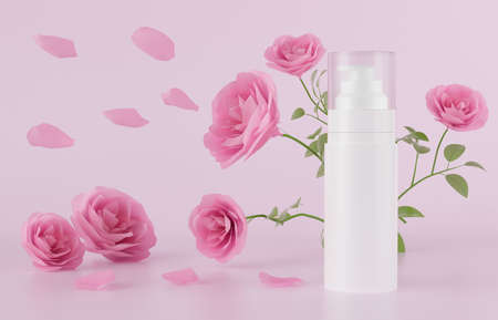 white spray bottle tube product package on pink background. pink rose to grow up. love romantic valentine concept. rose alcohol spray protection. skincare treatment product. mockup. 3d illustrator