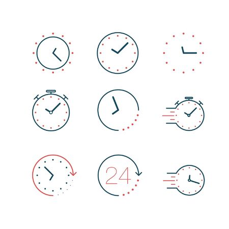 Icon set of clocks showing time passing