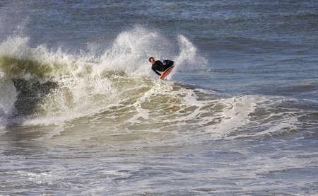 bodyboard: good bodyboarder on a powerful wave in Anglet ( France)