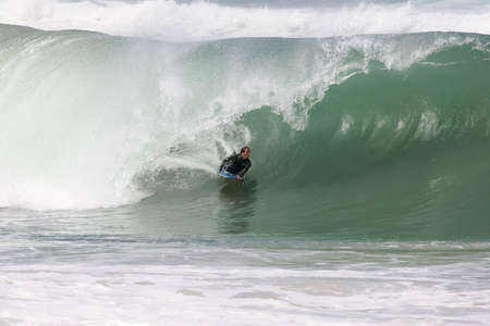 bodyboarder in the tube on a powerful french wave Stock Photo - 3102237