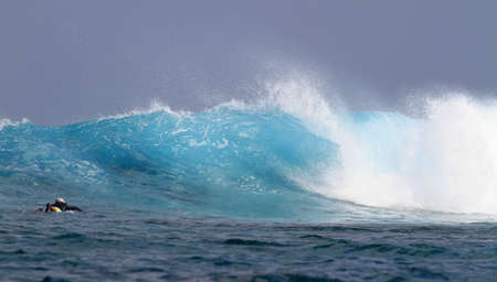 breaking in: big wave breaking in Maldives Stock Photo