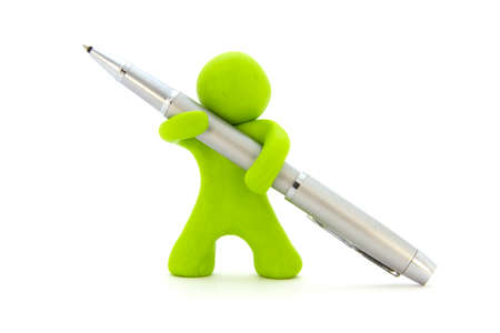 Lime green plasticine character and silver ballpoint pen. Stationery. Isolated over white background