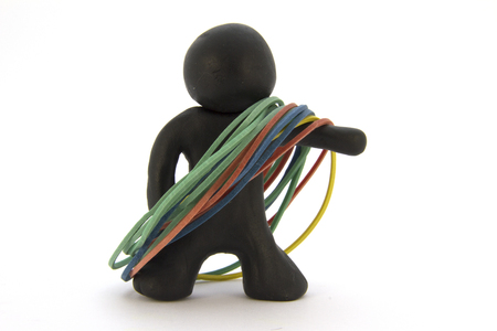 Black plasticine character and gum for money. Stationery. Isolated over white background