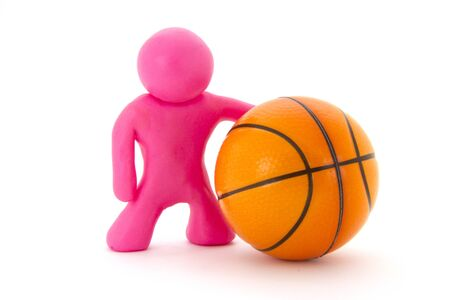 Pink plasticine character and basketball ball. Orange basketball play symbol. Sport icon activity. Isolated on white background Stockfoto