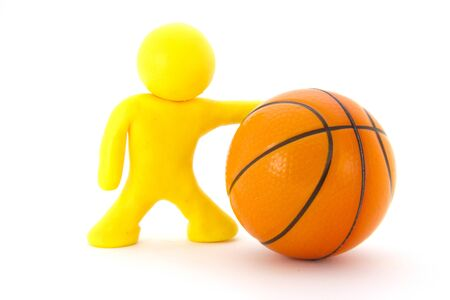 Yellow plasticine character and basketball ball. Orange basketball play symbol. Sport icon activity. Isolated on white background