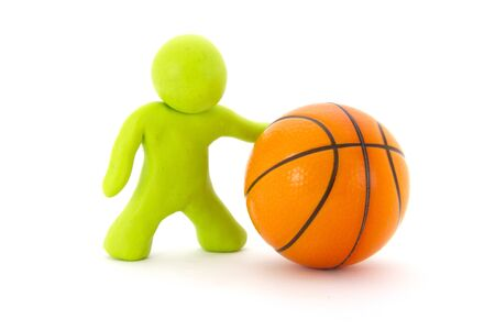 Lime green plasticine character and basketball ball. Orange basketball play symbol. Sport icon activity. Isolated on white background