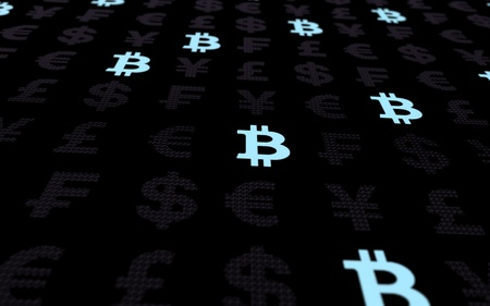 Bitcoin cryptocurrency 3D illustration. Beautiful currency dark background. Digital currency symbol. Digital background. Business concept
