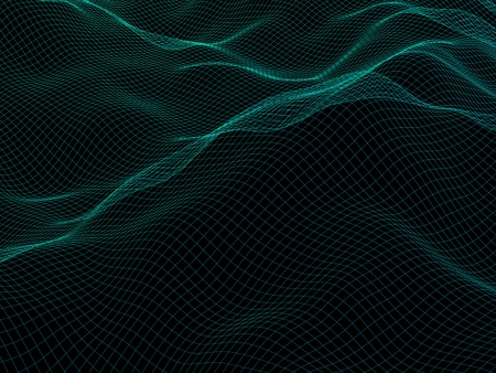 Abstract landscape background. Cyberspace grid. Hi-tech network. 3d technology illustration. Stock Photo