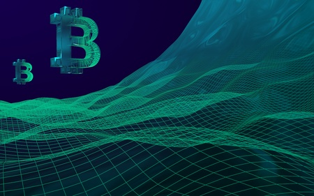 Digital currency symbol Bitcoin on abstract dark background. Business, finance and technology concept. 3D illustration Imagens