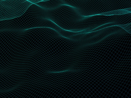 Abstract landscape background. Cyberspace grid. Hi-tech network. 3d technology illustration. 3D illustration Stock Photo