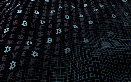 Bitcoin background. Cryptocurrency 3D illustration. Digital currency symbol. Wave effect, currency market fluctuations. Business concept. 3D illustration