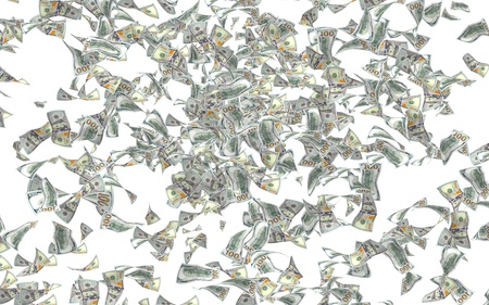 Flying dollars banknotes isolated on a white background. Money is flying in the air. 100 US banknotes new sample. 3D illustration