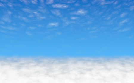 Blue sky background with white clouds. Cumulus white clouds in the clear blue sky in the morning. 3D illustration Stock Photo
