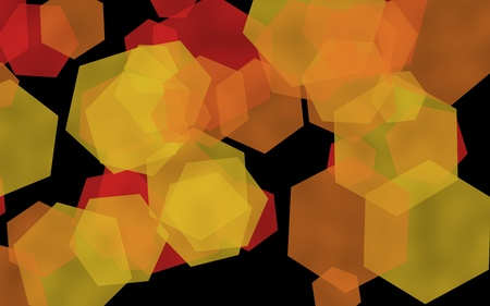 Multicolored translucent hexagons on dark background. Yellow. 3D illustration 스톡 콘텐츠