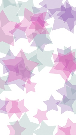 Multicolored translucent stars on a white background. Pink tones. 3D illustration