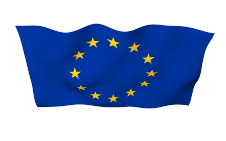 Slightly waving flag of the European Union isolated on white background, 3D rendering. Symbol of Europe. 3D illustration 版權商用圖片
