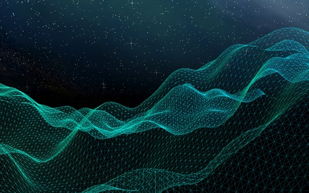 Abstract landscape on a dark background. Cyberspace grid. hi tech network. Outer space. Starry outer space texture. 3D illustration Stock Photo
