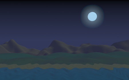 Starry moonless sky. Ocean shore line with waves on a beach. Island beach paradise with waves. Vacation, summer, relaxation. Seascape, seashore. Minimalist landscape, primitivism. 3D illustration 写真素材