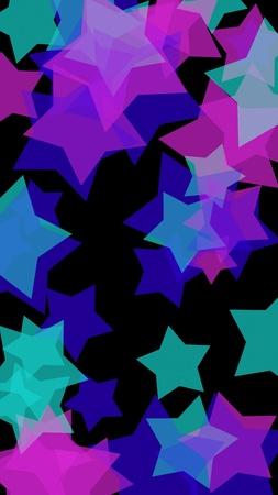 Multicolored translucent stars on a dark background. Vertical image orientation. 3D illustration 스톡 콘텐츠