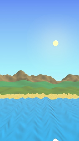 Sun Sea Beach. Noon. Ocean shore line with waves on a beach. Island beach paradise with waves. Vacation, summer, relaxation. Seascape, seashore. Minimalist landscape, primitivism. 3D illustration Banque d'images