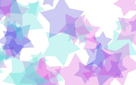 Multicolored translucent stars on a white background. Red tones. 3D illustration 스톡 콘텐츠