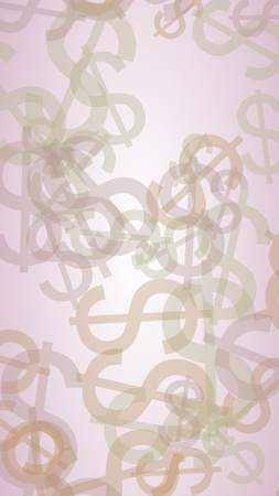 Multicolored translucent dollar signs on white background. 3D illustration 스톡 콘텐츠