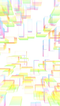 Colorful abstract digital and technology background. The pattern with repeating rectangles. 3D illustration Stock Photo