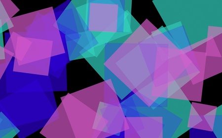 Multicolored translucent squares on dark background. 3D illustration