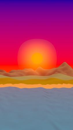 Sun Sea Beach. Sunrise. Ocean shore line with waves on a beach. Island beach paradise with waves. Vacation, summer, relaxation. Seascape, seashore. Minimalist landscape, primitivism. 3D illustration