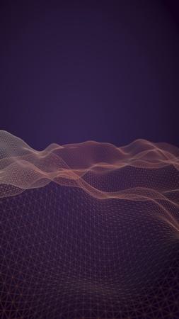 Abstract landscape background. Cyberspace purple grid. hi tech network. 3D illustration