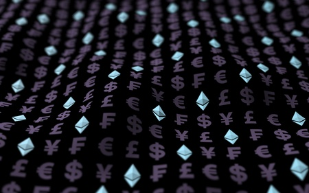 Ethereum crystal and currency on a dark background. Digital crypto currency symbol. Business concept. Market Display. 3D illustration Stockfoto