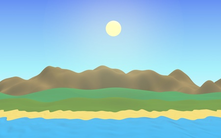 Sun Sea Beach. Noon. Ocean shore line with waves on a beach. Island beach paradise with waves. Vacation, summer, relaxation. Seascape, seashore. Minimalist landscape, primitivism. 3D illustration 写真素材