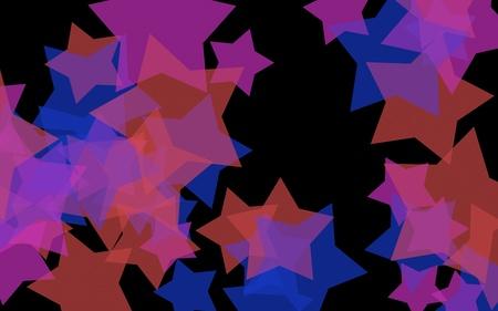 Multicolored translucent stars on a dark background. Orange tones. 3D illustration