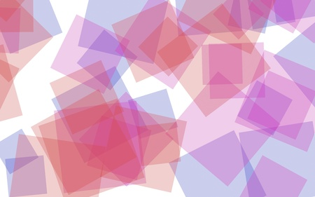 Multicolored translucent squares on white background. Red tones. 3D illustration Stock Photo