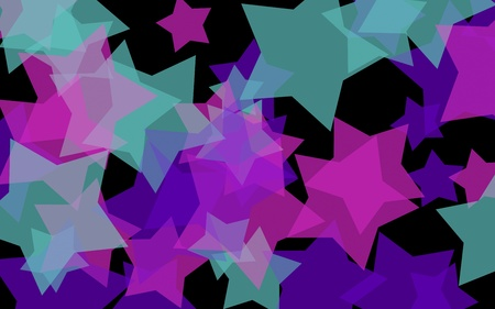 Multicolored translucent stars on a dark background. Orange tones. 3D illustration