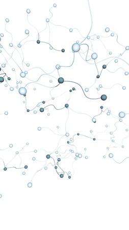Neurales Netzwerk. Soziales Netzwerk. Futuristische DNA, Desoxyribonukleinsäure. Abstraktes Molekül, Zellillustration, Myzel. Weißer Hintergrund. 3D-Darstellung Standard-Bild