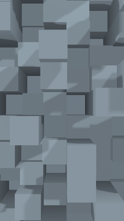 Abstract gray elegant cube geometric background. Chaotically advanced rectangular bars. 3D Rendering, 3D illustration