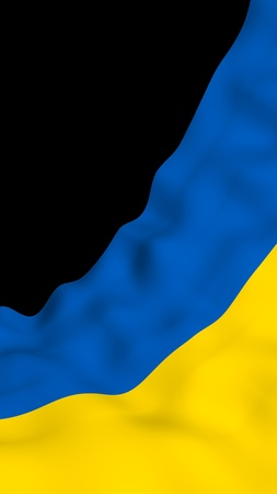 The flag of Ukraine on a dark background. National flag and state ensign. Blue and yellow bicolour. 3D illustration waving flag 写真素材 - 122066276