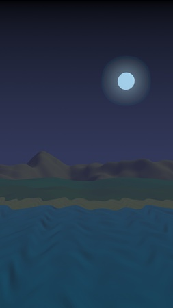 Starry moonless sky. Ocean shore line with waves on a beach. Island beach paradise with waves. Vacation, summer, relaxation. Seascape, seashore. Minimalist landscape, primitivism. 3D illustration Reklamní fotografie