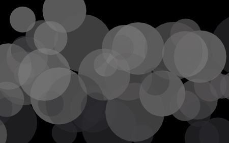 Gray translucent circles on a dark background. Gray tones. 3D illustration Banco de Imagens