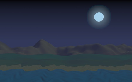 Starry moonless sky. Ocean shore line with waves on a beach. Island beach paradise with waves. Vacation, summer, relaxation. Seascape, seashore. Minimalist landscape, primitivism. 3D illustration Banco de Imagens