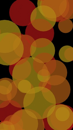 Multicolored translucent circles on a dark background. 3D illustration