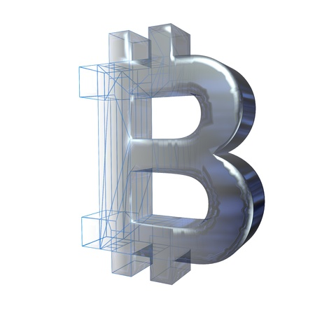 Bitcoin sign, platinum or silver turns into a blue grid on a white background. 3D illustration Reklamní fotografie