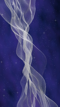 Abstract purple-blue starry background. White cyberspace grid. hi tech network. Outer space. Starry outer space texture. Deep space. Universe. 3D illustration