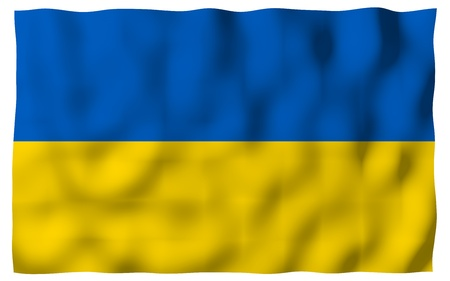The flag of Ukraine on a white background. National flag and state ensign. Blue and yellow bicolour. 3D illustration waving flag 写真素材 - 122078738