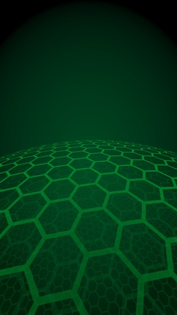 Multilayer sphere of honeycombs, green on a dark background, social network, computer network, technology, global network. 3D illustration